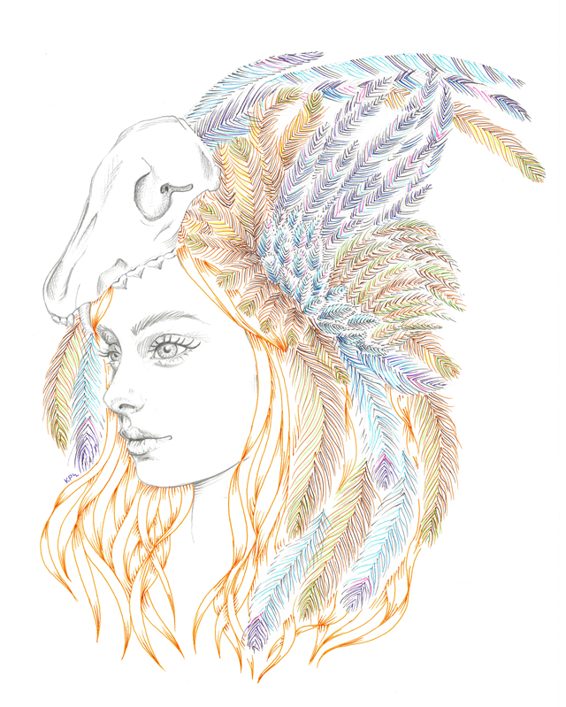 Skull & Feathers - illustration by Kate Philipson