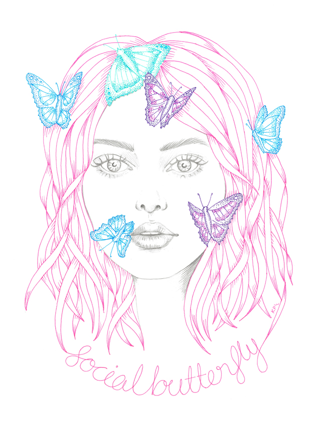 Social Butterfly - illustration by Kate Philipson
