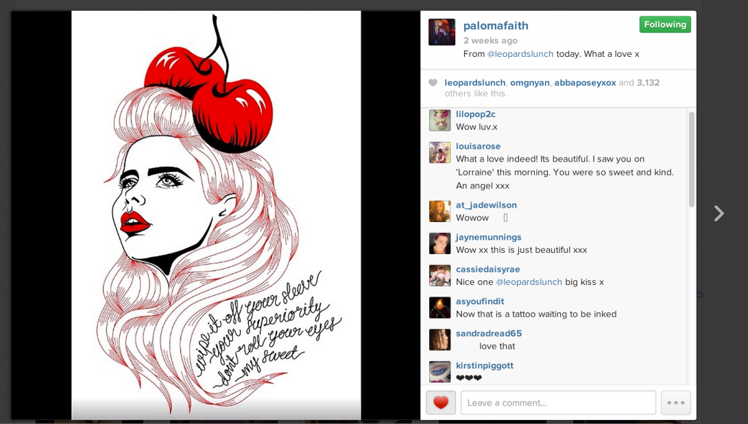 Paloma Faith's Instagram