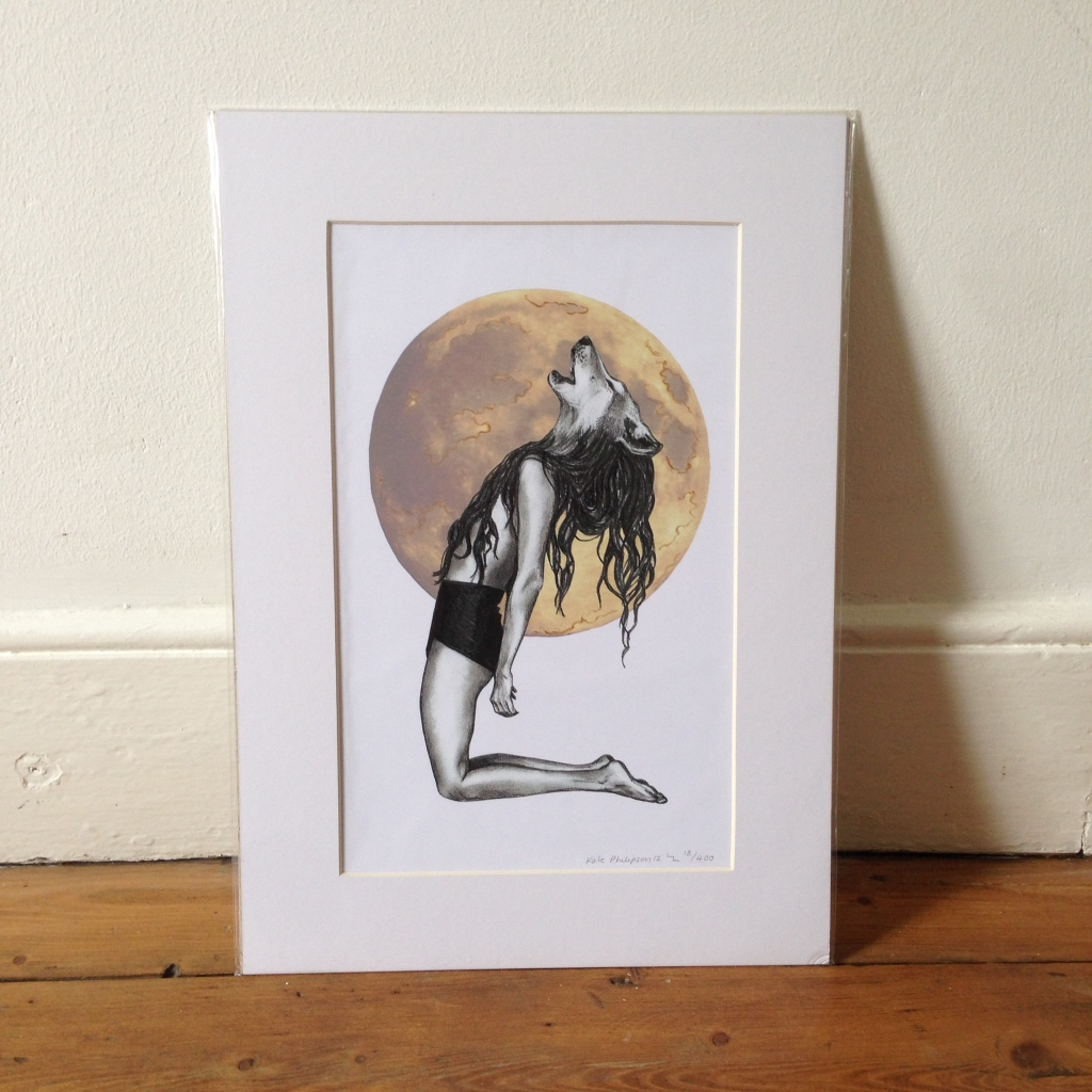 She Wolf - A3 print, signed and mounted.